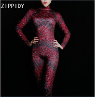 Full Red Rhinestones Spandex Bling Jumpsuit Women's Birthday Party Celebrate Outfit Bar Female Singer Bodysuit Evening Clothes