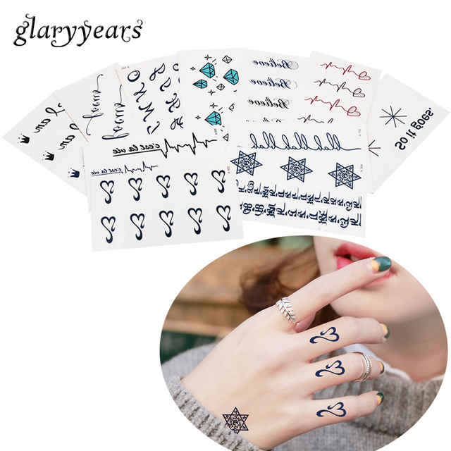 1 Piece Black Alphabet Pattern Temporary Tattoo Finger Wrist Stocking Body Art Sticker 'I Love You' Faith Heart Decal Paper Word