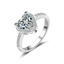 2019 Jingyang Fashion Crystal Heart Shaped Wedding Rings Womens Zircon Engagement Glamour jewellery