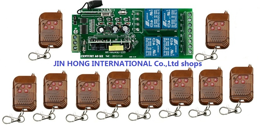 85V~250V 4CH RF Wireless Remote Control Relay Switch Security System Garage Doors  1pc Receiver +10pc Mahogany color Transmitter85V~250V 4CH RF Wireless Remote Control Relay Switch Security System Garage Doors  1pc Receiver +10pc Mahogany color Transmitter
