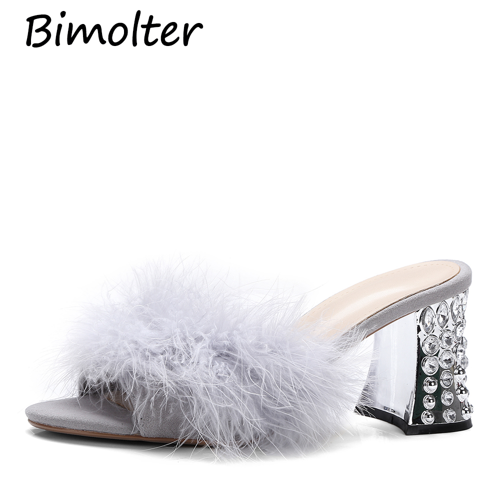 Bimolter New Fashion Spring Autumn Ostrich feather Slippers Women Fur High Heels Mules Round Open Toe Stiletto Heels Pumps NB142 in Slippers from Shoes