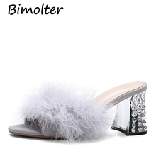 Bimolter New Fashion Spring/Autumn Ostrich feather Slippers Women Fur High Heels Mules Round Open Toe Stiletto Pumps NB142