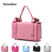 Reiwalker Brand PU Leather Handbags Bowknot Decorative Women Shoulder Small Box Bag Ladies Cute Women Bags
