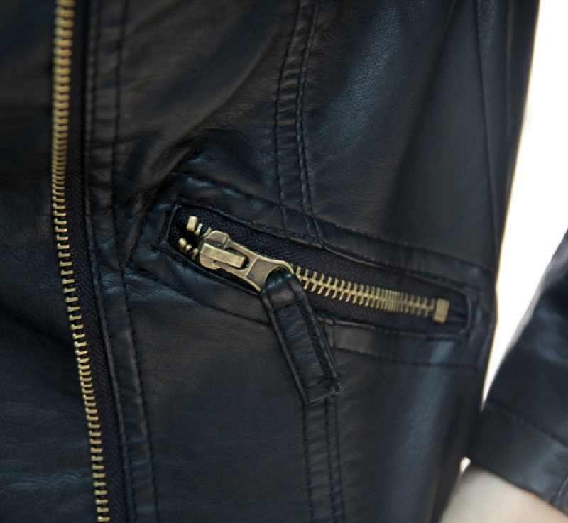 2019 春カジュアルジャケット女性長袖スリムジッパージャケットファッション PU ターンダウンジャケット上着ソフト女性革トップス