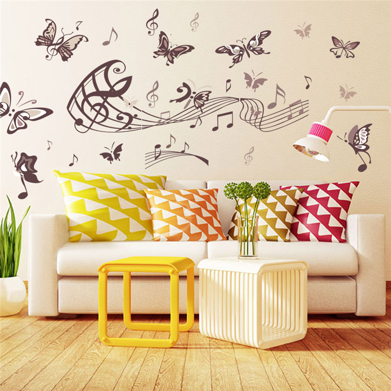 Creative Home Decor Butterfly Music Note Wall Stickers Removable PVC ...