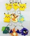 2016 New Keychain Pocket Monster figure toys Eevee Pikachu Bulbasaur Squirtle figures pvc keychain pendant free shipping