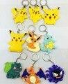 2016 Nuevo Llavero Pocket Monster Eevee Pikachu Squirtle Bulbasaur figuras pvc juguetes figuras llavero colgante envío gratis