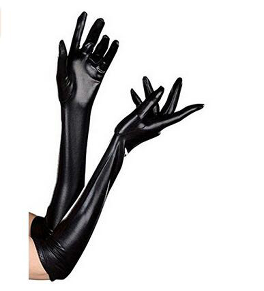 Womens Leather Black Mitten Evening Party Opera Wedding -3089