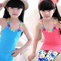 Colete de verão para Crianças Nova Camisa T Plus Size Bebê Menina T-shirt de Algodão O-pescoço Fino Encabeça Roupas Da Moda Meninas Novo Sólido tanques