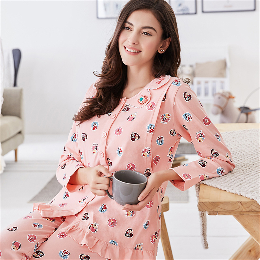 fadbae4935 Cute Summer Maternity Clothes Pregnancy Pajamas For Pregnant Women Long  Sleeve Casual Cotton Maternity Clothes Spring 605909-in Sleep   Lounge from  Mother ...