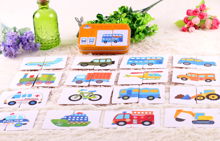 Image 3 - New Arrival Baby Toys Infant Early Head Start Training Puzzle Cognitive Card Vehicl/Fruit/Animal/Life Set Pair Puzzle Baby Gift-in Puzzles from Toys & Hobbies