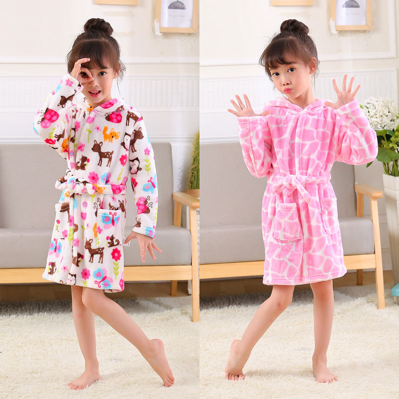 Cartoon Kids Robes Flannel Barn Boys Girls Robes Lovely Animal Hooded - Barnkläder - Foto 2