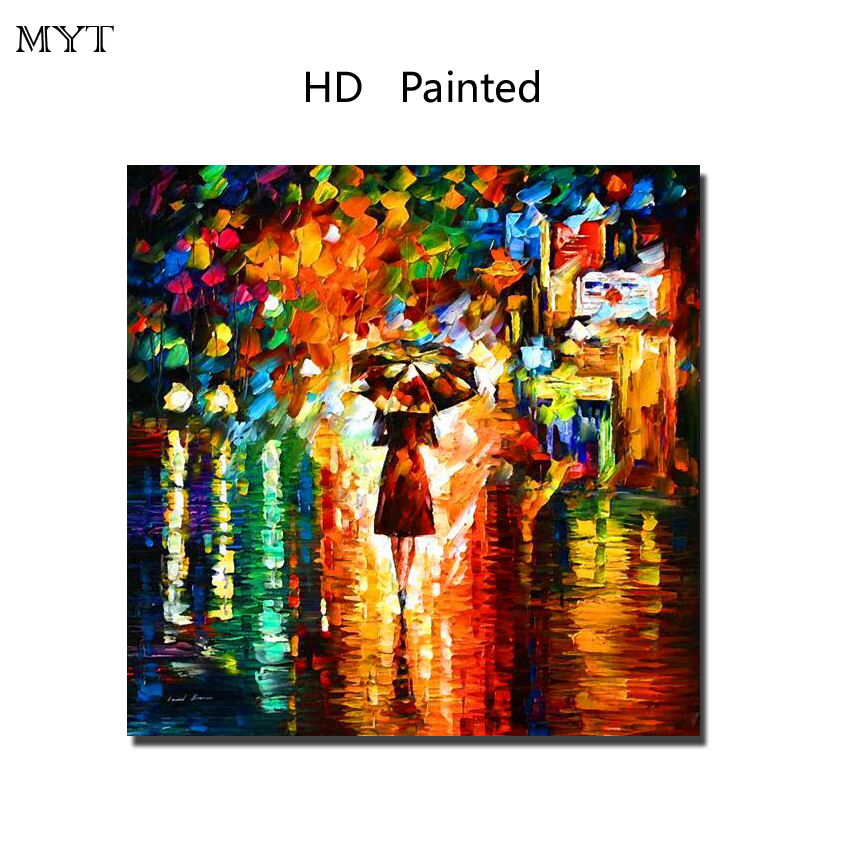 Raining Street view HD painting printed on canvas art wall picture for bed room sitting room home decor No Framed or Diy Framed