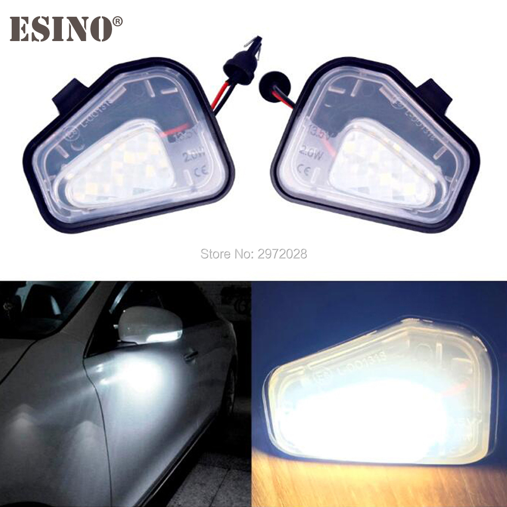 2 x <font><b>LED</b></font> Car Under Side Mirror Lamps <font><b>CANBUS</b></font> OBC Error Free Lights For Volkswagen <font><b>VW</b></font> Golf MK6 Touran CC EOS Passat Scirocco image