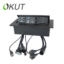 Фотография FLY-TIMESk513 desktop socket box multimedia information network power microphone VGA meeting three plug socket