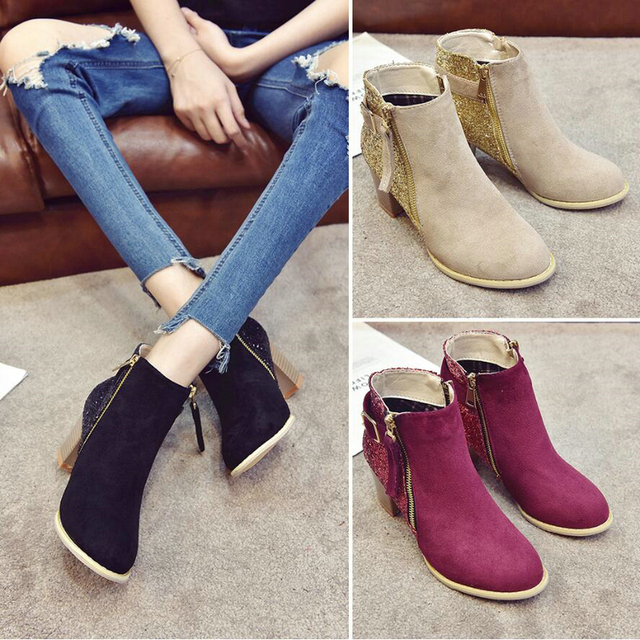 a47742fd0f1d Women's Boots Casual Ankle Boot Lady High Heels Winter Snow Boots Women  Genuine Leather Glitter Winter Shoes Women Big Size 43