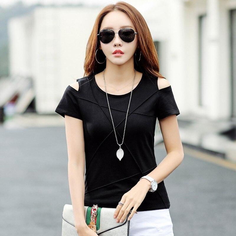 2018 Summer T-shirts Women Tshirts Ladies Open Shoulder Tops Tees Female T-shirt Casual Short Sleeve White Tshirt Lady H0032