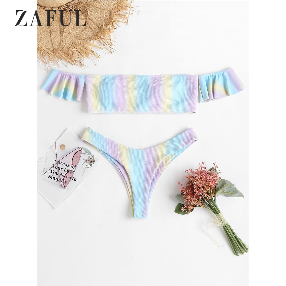 3fe03171ebf47 ZAFUL Ombre Off Shoulder Bikini Swimwear Women HighCut Swimsuit Sexy Padded  Thong Bikini Set Ombre Bathing