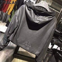 Ptslan 2017 Women s Genuine Sheepskin Leather Coat Female Real Lambskin Pullover Good Quality