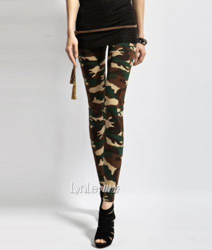Women's Ladies Girls Sexy Army Green Camouflage Printed Elastic Slim Pencil Pants Leggings Long Trousers