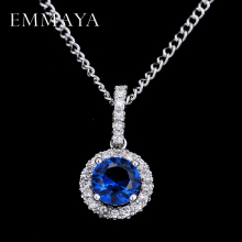 EMMAYA Synthetic Blue Cubic Zirconia Necklaces Heart and Arrows CZ Pendant Necklace with 8mm 2ct