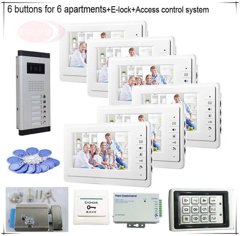 6 пуговиц Цвет видеодомофонов системы 6 ЖК безопасности дверной звонок для 6 квартир + система контроля доступа + e-lock