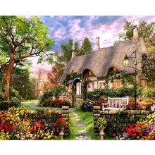 Grass house garden.40x50cm,Painting By Numbers,DIY,wall Art,Living Room Decoration,Scenery,Figure,Animal,Flower,Cartoon(China)
