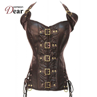 Comeondear Robe Corset Gothique Steampunk Corset Burlesque Costumes AB2225 Buckle up Cool Body Shapewear Ropa Gotica Mujer