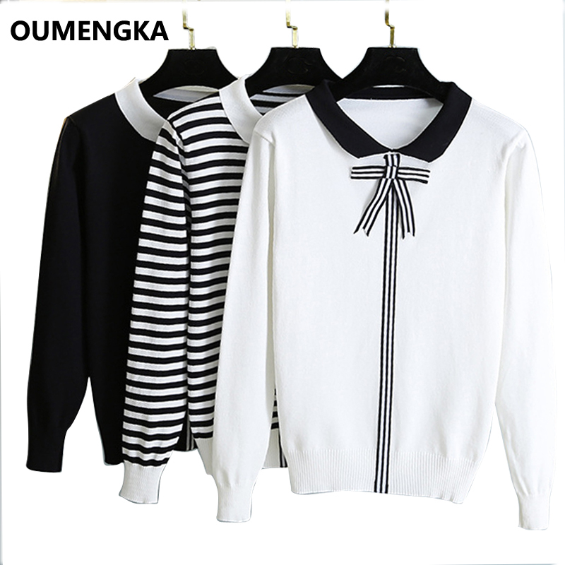 Casual Sweater Women 2019 Autumn Spring Knitted Sweater Turn-down Collar Long Sleeve Striped Knitting Pullover Womens Sweaters