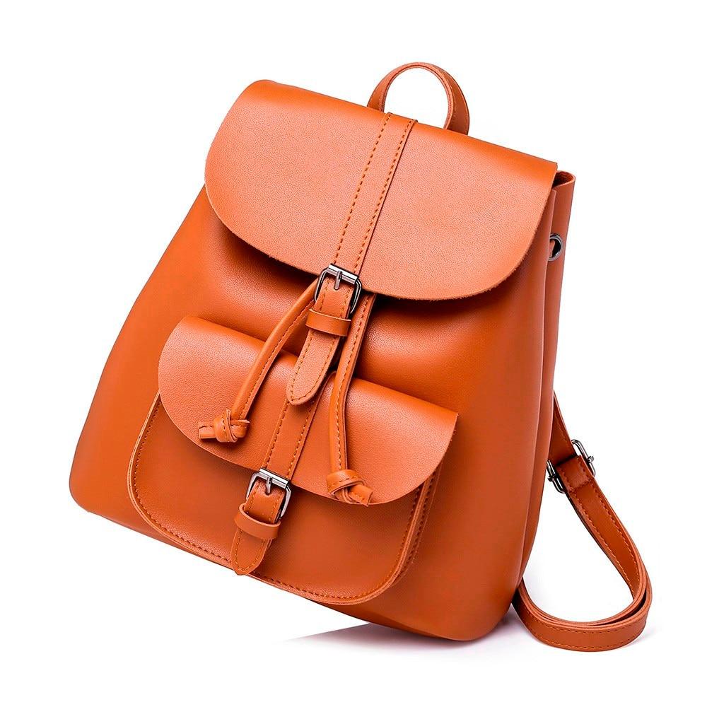Brown Leather Backpacks Women Vintage Solid Color Backpacks Shoulder Drawstring Bags Bookbag Mochila Backbag Rucksack Daypack#23 solid drawstring detail tee