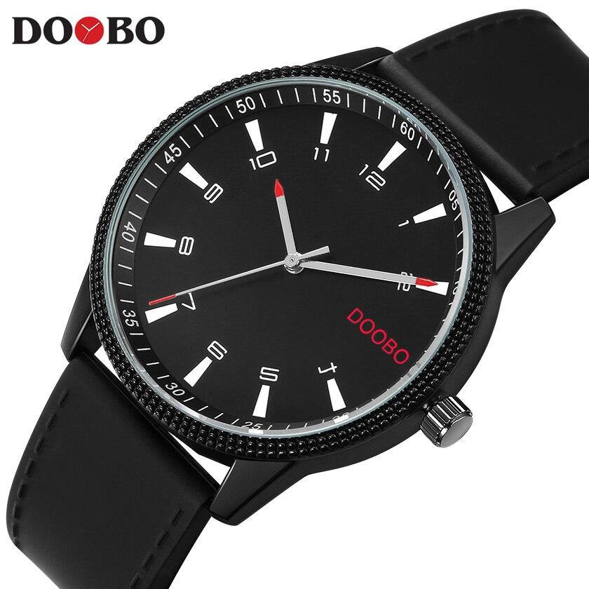 Creative Simple Watch Men Fashion Casual Mens Watches Top Brand Luxury Sport Quartz Watch Silicon Strap Black DOOBO Clock Date meibo brand top men casual simple quartz