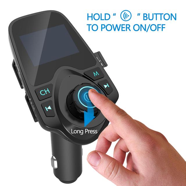 Nulaxy Car MP3 Player Bluetooth FM Transmitter Hands-free Car Kit Audio MP3 Modulator 1.44 Inch Display 2.1A USB Car Charger