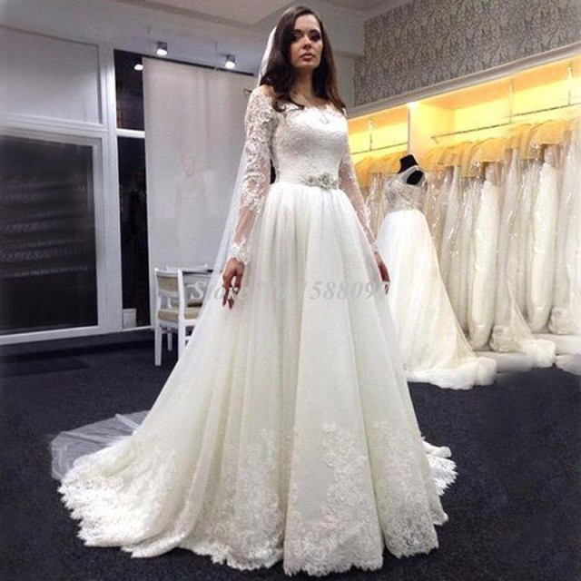 Beautiful Long Sleeve Lace Wedding Dress A Line Ivory With Ruffles Vestidos De