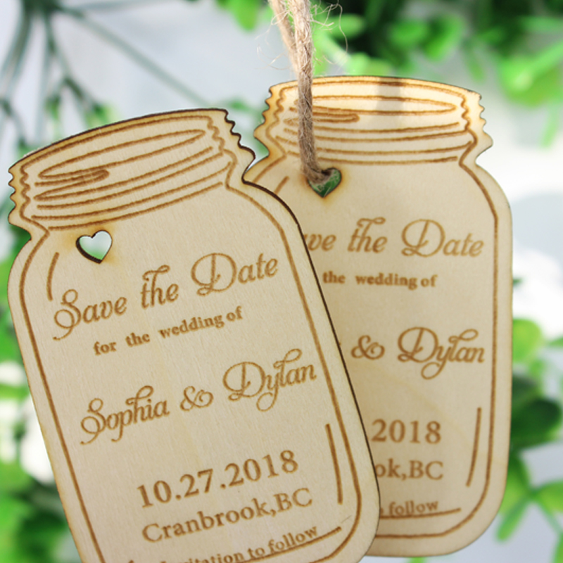 Personalized Engraved Wooden Wedding Tags Save the Date Wedding Tags, Marson Jars Shape Wood Labels,Rustic Party Wedding Decor
