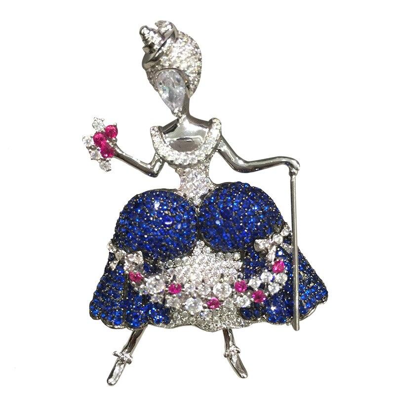 Broche fée broches & pendentif double usage faery baguette magique 925 sterlin argent avec zircon cubique pavé pierre mode femmes bijoux-in Broches from Bijoux et Accessoires    1