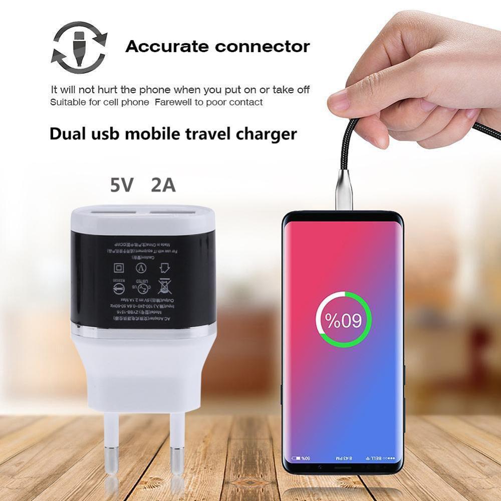 US $2.24 |Uniwersalna ładowarka USB do telefonu komórkowego telefon komórkowy ue wtyczka podwójna ładowarka USB wtyczka 5V 2.1A AC 220V Travel adapter