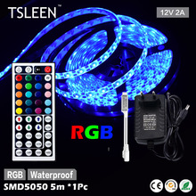 TSLEEN 5M 5050 300LED Multi-color Flexible Light Strip Lamp 12V 2A Power Supply Xmas Party Home Decoration