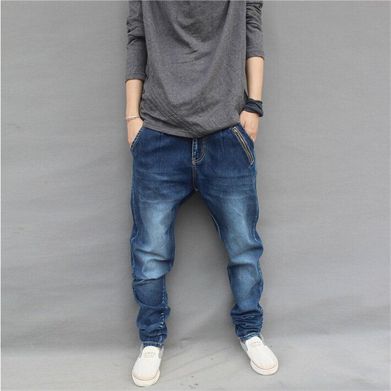 ФОТО 2015 spring fashion blue harem men denim jeans slim pencil harem taper pants plus size cotton Size M,L,XL,XXL,3XL,4XL,5XL,6XL