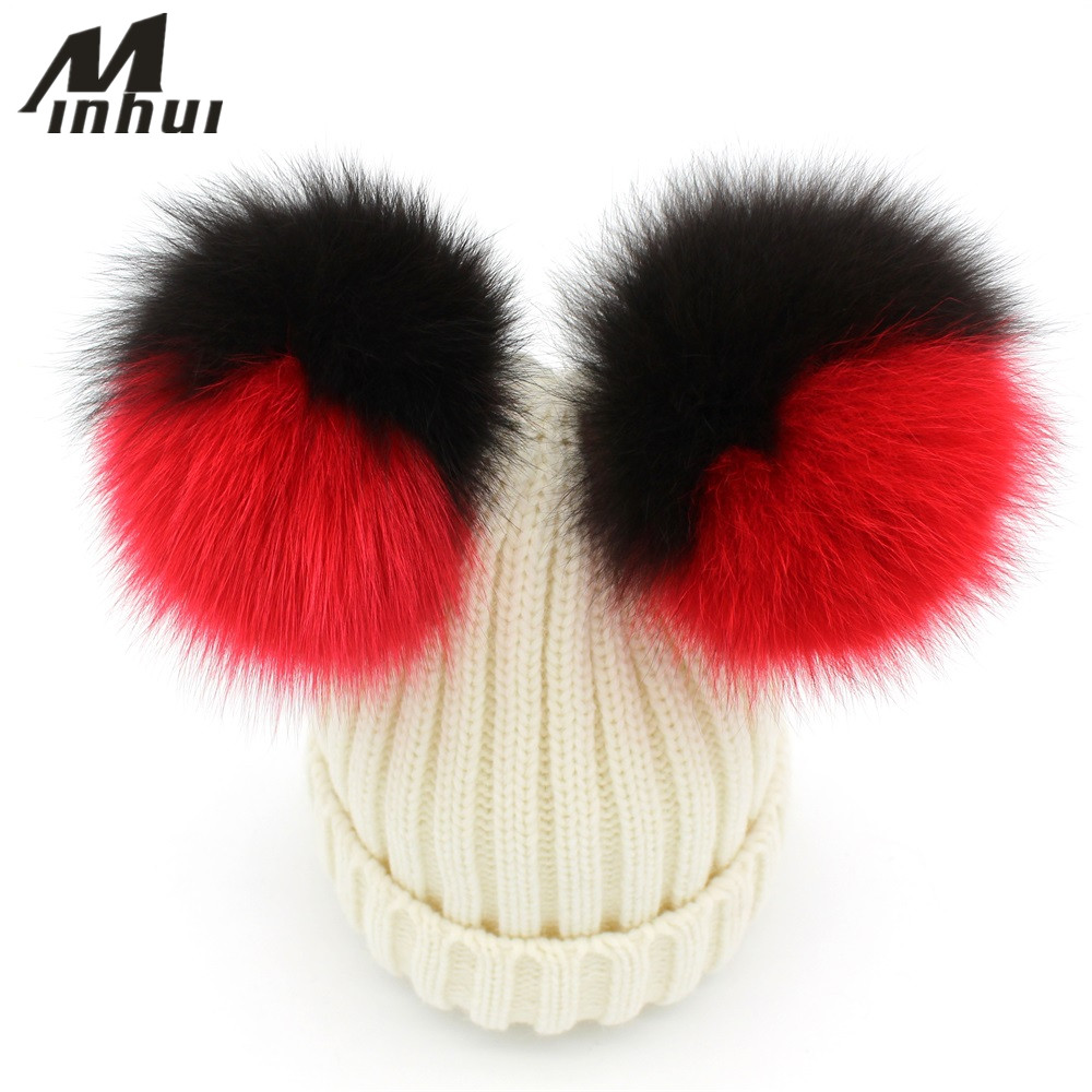 Minhui Real Fox Fur Pom Poms Wool Rabbit Knitted Hat Skullies Winter Hats for Women Girls Feminino Beanies Bonnet