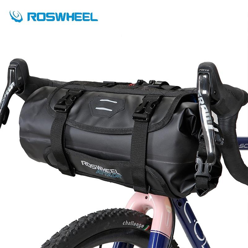 ROSWHEEL Bike 3 7L Handlebar Bag Waterproof Bicycle Front Tube Pocket Bikepacking Bag Nylon Cycling Hiking