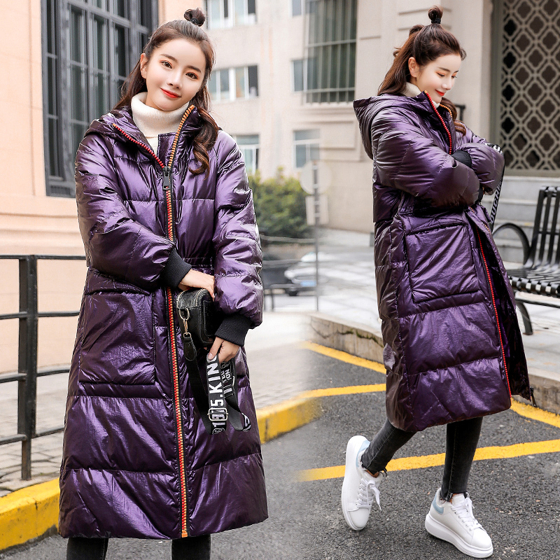 Patent Leather Glossy Winter 90% White Duck Down Jacket Women Hooded Long Down Parka 2019 New Arrival Straight Womens Down Coats