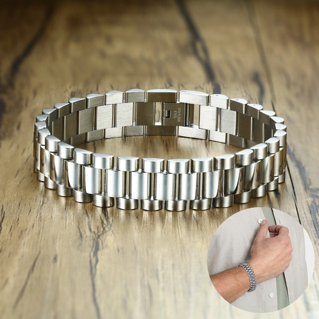 30440313c Gent's Solid Stainless Steel Jubilee Watch Band Style Bracelet for Men  Jewelry Golden Silverly 15MM Wide 8.8 Inches