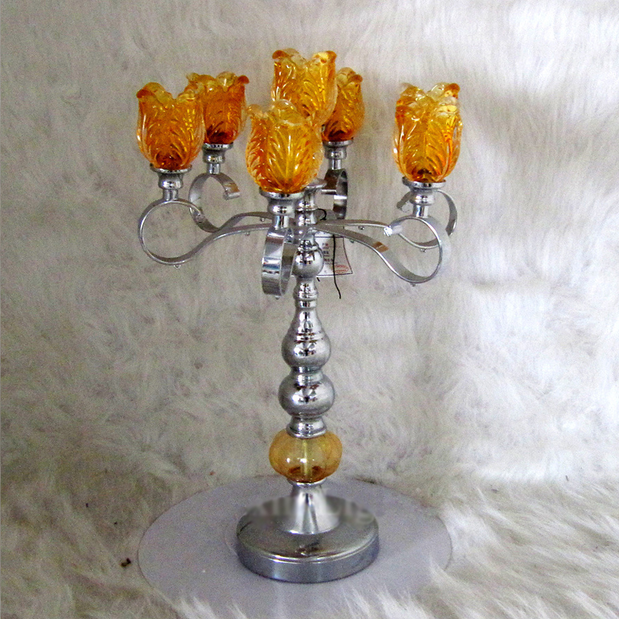 European - style 47cm iron Orange crystal candlestick hotel restaurant living room Decoration wedding Candlestick supplies free shipping european high grade furniture jewelry natural resin candlestick rose upholstery candlestick wedding accessories