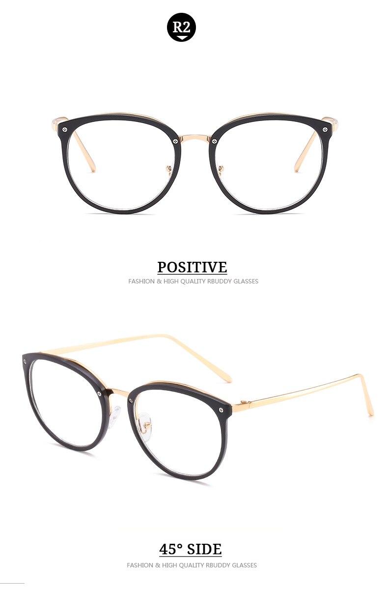 RBUDDY Mode Klare Linse Runde Brille Transparente Rahmen Frauen Gold ...