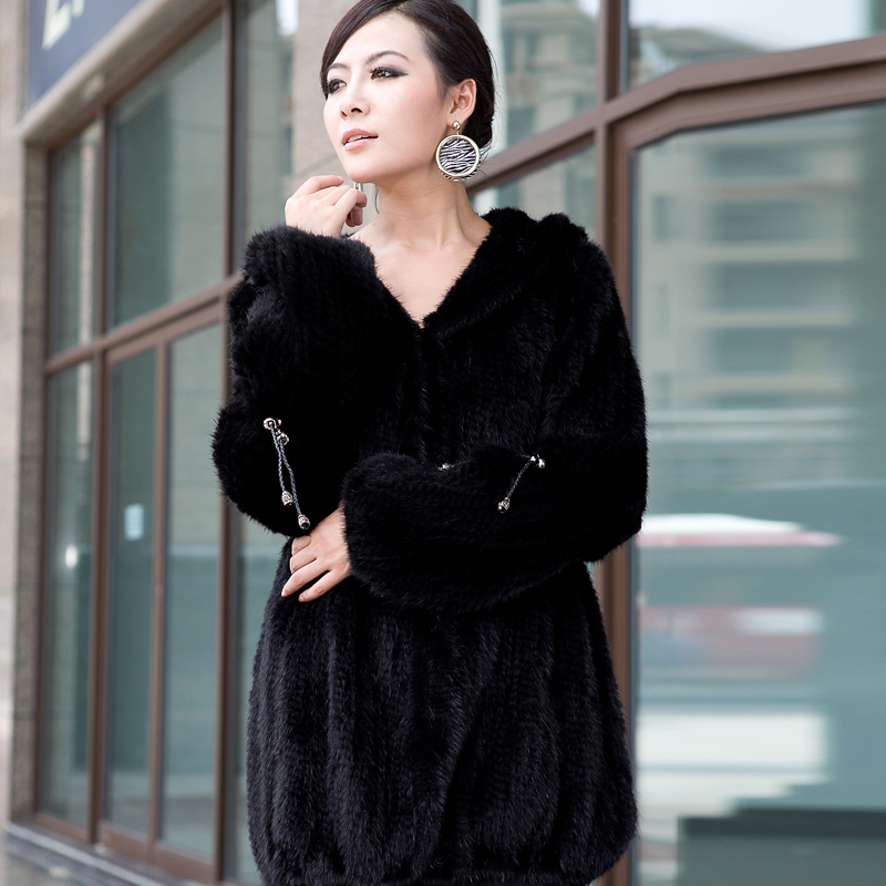 2018New mink fur coat women's long sleeve top fashion all match Mink knit jacket mink knitted coat Free shipping-in Real Fur from Women's Clothing    2