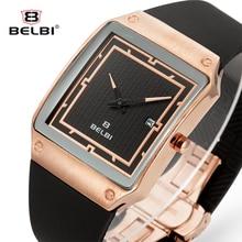 Belbi Sport Reloj de Los Hombres de Primeras Marcas de Lujo de Cuero de LA PU de Cuarzo Relojes de Moda Masculina Militar Calendario Rectángulo Reloj Despertador 2016