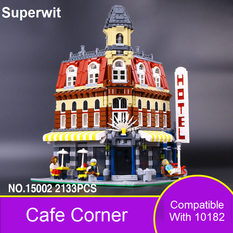 Superwit 2017 New Lepin 15002 2133Pcs Cafe Corner Model Building Blocks Bricks Sets Toy Compatible With 10182 For Children Gift superwit 72pcs big size city diy creative building blocks brick compatible with duplo sets lepin educational toys children gifts