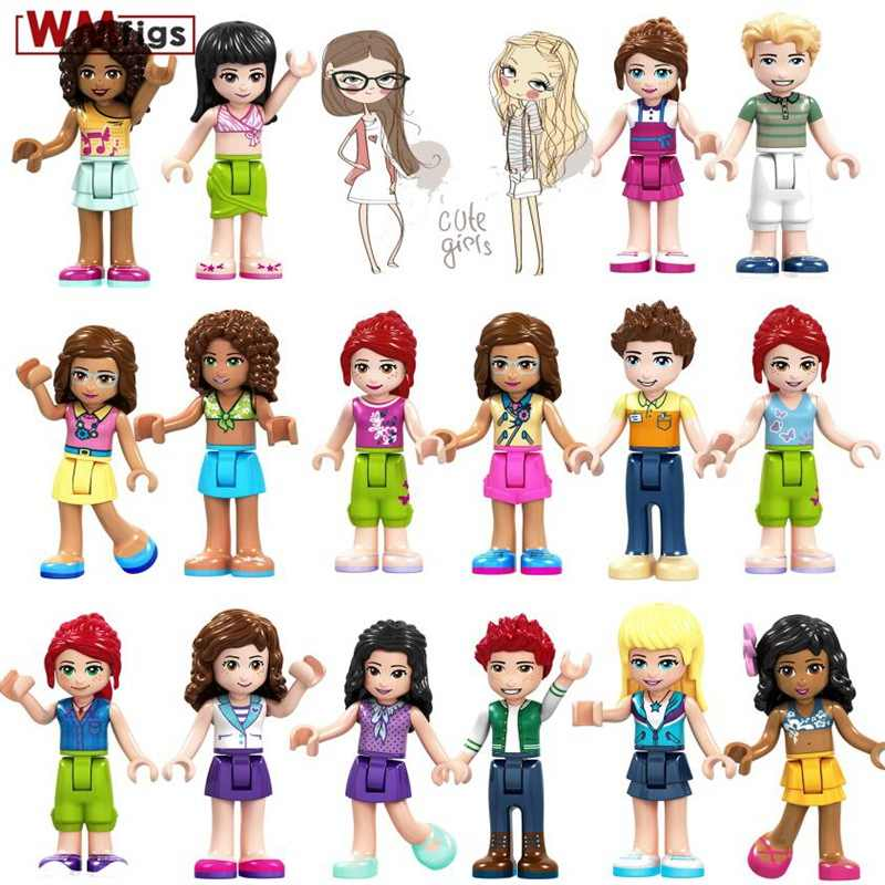 Single Legoings Friends Girls Club Party with Beautiful Dress Emma Mia Dancet Mini Doll Building Blocks Baby Toys for Children