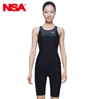 2015 NEW NSA Black One Piece Competition Kneeskin Waterproof Chlorine Low Resistance Women S Swimwear Quick