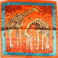 Hot Sale Ladies Orange Giraffe Silk Scarf Autumn Winter Fashion Accessories Women Professional Small Square Silk Scarf Printed